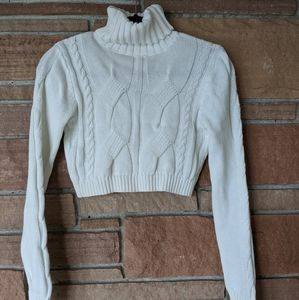 White cropped knit turtleneck (never worn)